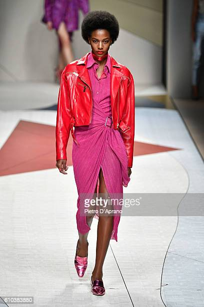 A model walks the runway at the Trussardi show during Milan Fashion Week Spring/Summer 2017 on September 25 2016 in Milan Italy