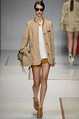 A model walks the runway at the Trussardi Spring Summer 2015 fashion show during Milan Fashion Week on September 21 2014 in Milan Italy