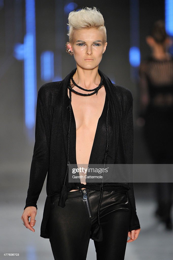 A model walks the runway at the Tuba Ergin show during MBFWI presented by American Express Fall/Winter 2014 on March 10, 2014 in Istanbul, Turkey.
