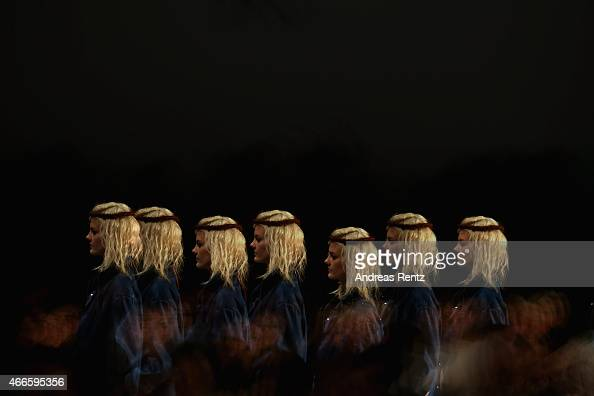A model walks the runway at the Tuba Ergin show during Mercedes Benz Fashion Week Istanbul FW15 on March 17 2015 in Istanbul Turkey