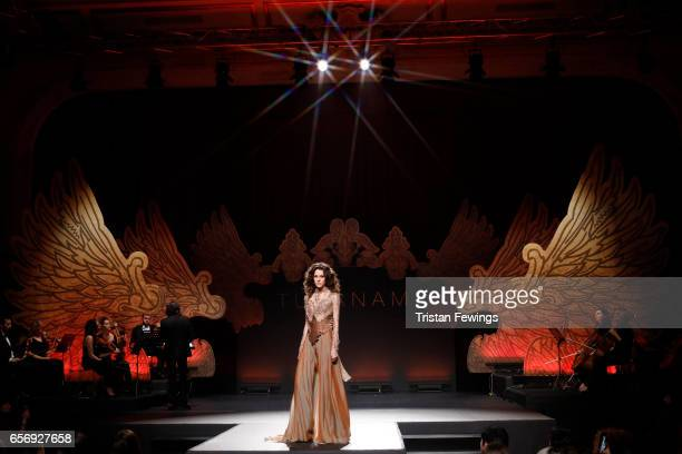 A model walks the runway at the Tuvanam show during MercedesBenz Istanbul Fashion Week March 2017 at Grand Pera on March 23 2017 in Istanbul Turkey
