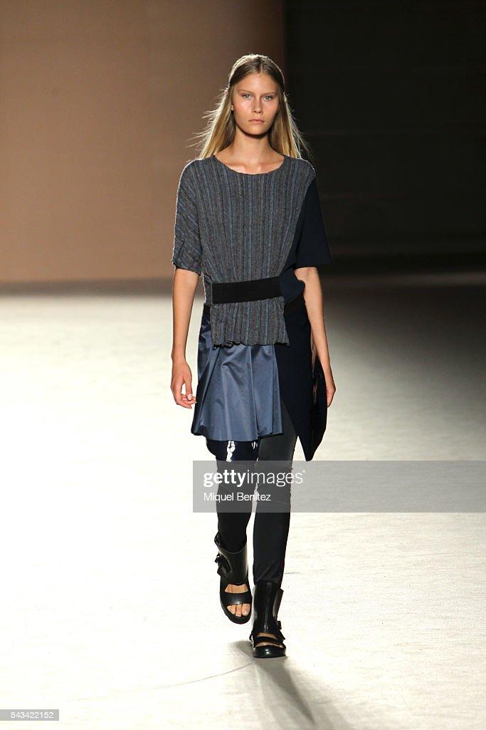 A model walks the runway at the Txell Miras show during the Barcelona 080 Fashion Week Spring/Summer 2017 at the INEFC Institut Nacional de Educacio Fsica de Catalunya on June 28, 2016 in Barcelona, Spain.