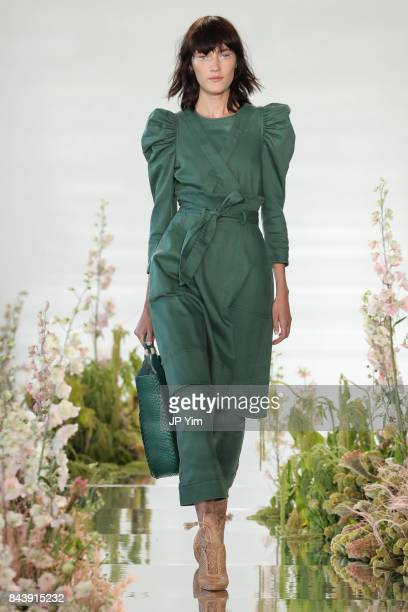 A model walks the runway at the Ulla Johnson SS2018 Collection during New York Fashion Week at Pier 59 on September 7 2017 in New York City