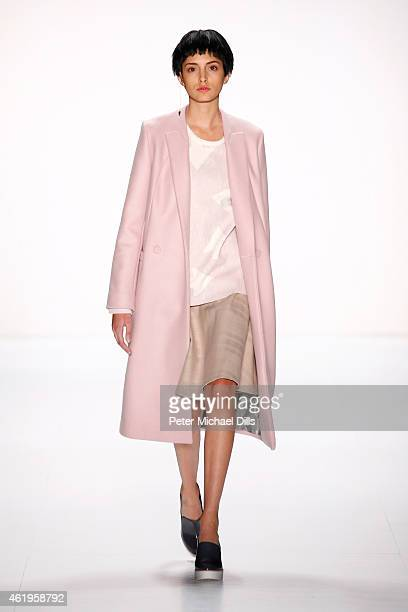 A model walks the runway at the Use Unused show during the MercedesBenz Fashion Week Berlin Autumn/Winter 2015/16 at Brandenburg Gate on January 22...