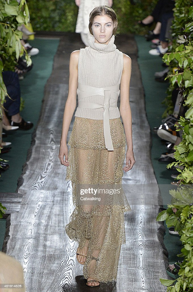 A model walks the runway at the Valentino Autumn Winter 2014 fashion show during Paris Haute Couture Fashion Week on July 9, 2014 in Paris, France.