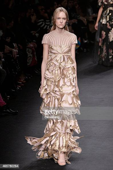 A model walks the runway at the Valentino Autumn Winter 2015 fashion show during Paris Fashion Week on March 10 2015 in Paris France