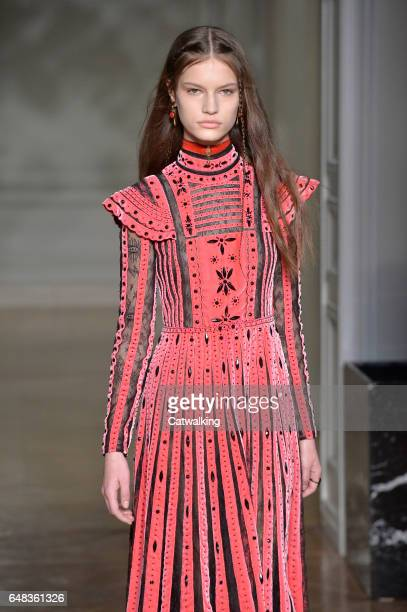 A model walks the runway at the Valentino Autumn Winter 2017 fashion show during Paris Fashion Week on March 5 2017 in Paris France