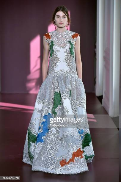 A model walks the runway at the Valentino Autumn Winter 2017 fashion show during Paris Haute Couture Fashion Week on July 5 2017 in Paris France
