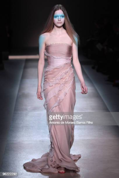 A model walks the runway at the Valentino HauteCouture show as part of the Paris Fashion Week Spring/Summer 2010 at Couvent des Cordeliers on January...