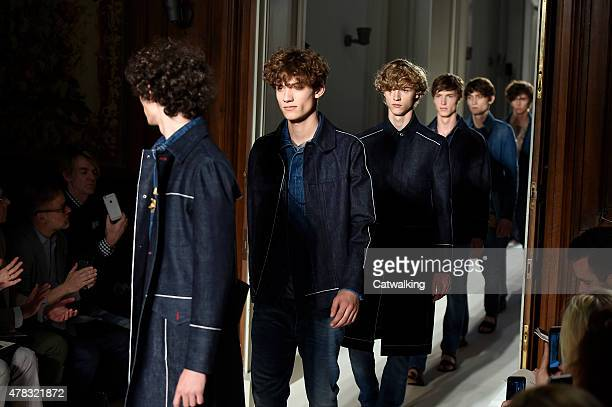 A model walks the runway at the Valentino Spring Summer 2016 fashion show during Paris Menswear Fashion Week on June 24 2015 in Paris France
