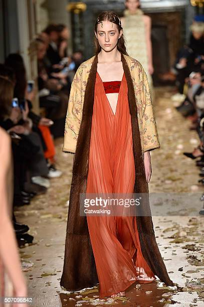 A model walks the runway at the Valentino Spring Summer 2016 fashion show during Paris Haute Couture Fashion Week on January 27 2016 in Paris France