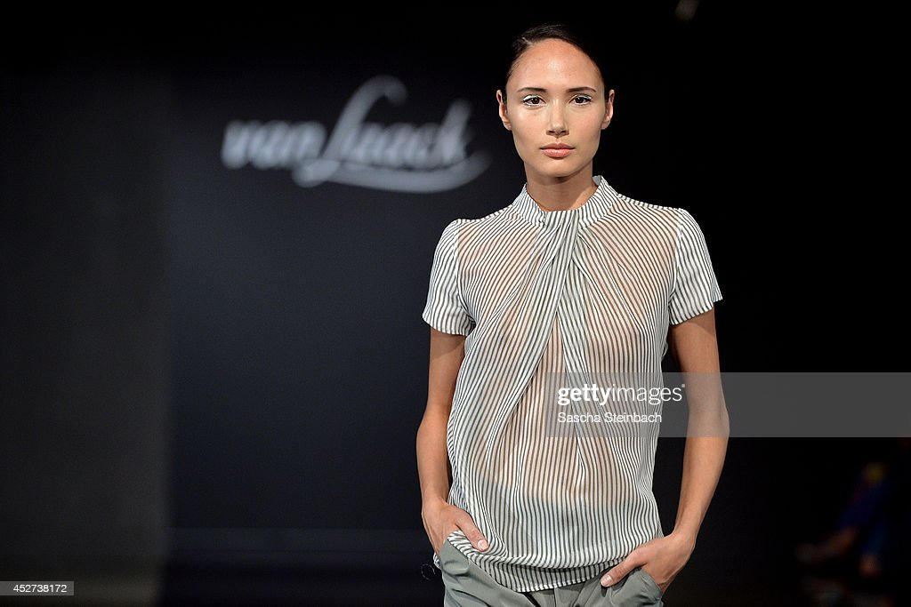 A model walks the runway at the Van Laack Show during Platform Fashion Duesseldorf on July 26, 2014 in Dusseldorf, Germany.