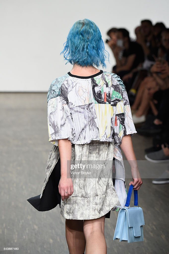 A model walks the runway at the Vanesa Krongold show during the Mercedes-Benz Fashion Week Berlin Spring/Summer 2017 at Stage at me Collectors Room on June 30, 2016 in Berlin, Germany.