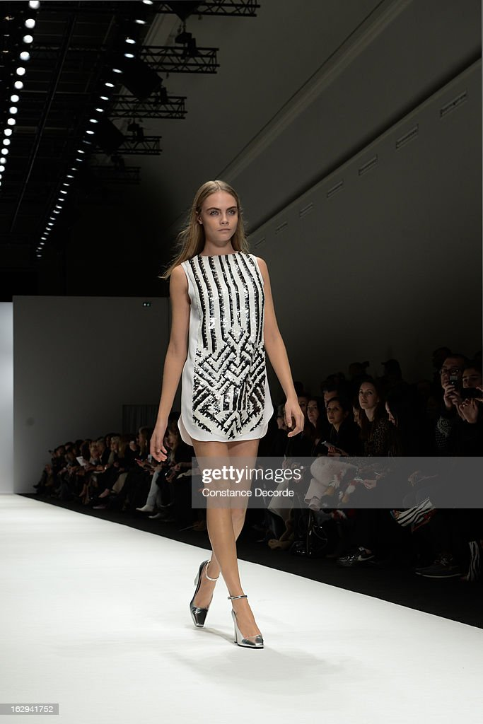A Model walks the runway at the Vanessa Bruno Fall/Winter 2013 Ready-to-Wear show as part of Paris Fashion Week at Grand Palais on March 1, 2013 in Paris, France.