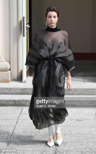 A model walks the runway at the Vanessa Schindler presented by MercedesBenz ELLE defile during 'Der Berliner Mode Salon' Spring/Summer 2018 at...