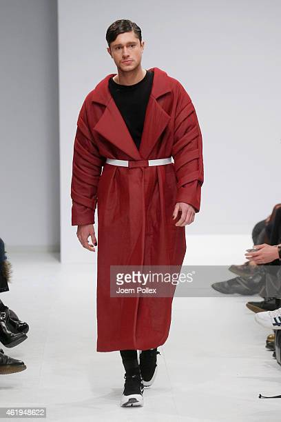 A model walks the runway at the Vektor show during the MercedesBenz Fashion Week Berlin Autumn/Winter 2015/16 at Brandenburg Gate on January 22 2015...