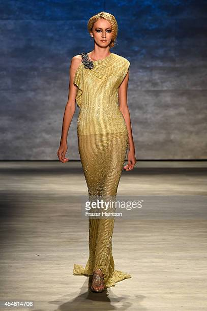 A model walks the runway at the Venexiana fashion show during MercedesBenz Fashion Week Spring 2015 at The Pavilion at Lincoln Center on September 6...