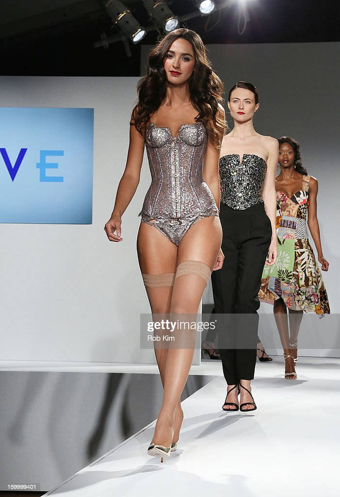 A model walks the runway at the Vera Launch at Ambassadors River View at the United Nations on January 24, 2013 in New York City.