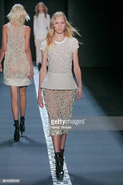A model walks the runway at the Vera Wang Collection September 2016 New York Fashion Week The Shows Spring 2017 at The Arc Skylight at Moynihan...