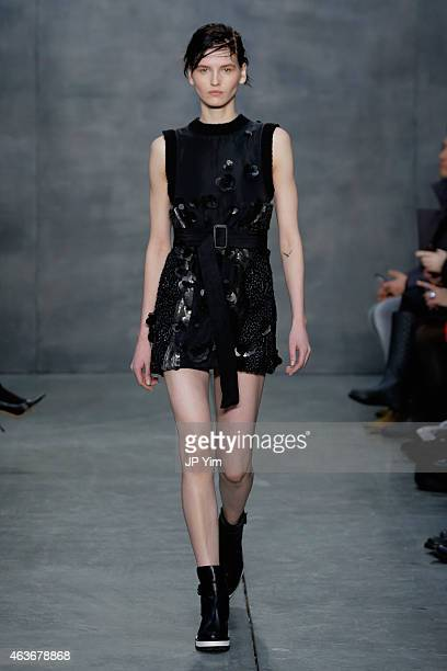A model walks the runway at the Vera Wang fashion show during MercedesBenz Fashion Week Fall 2015 on February 17 2015 in New York City
