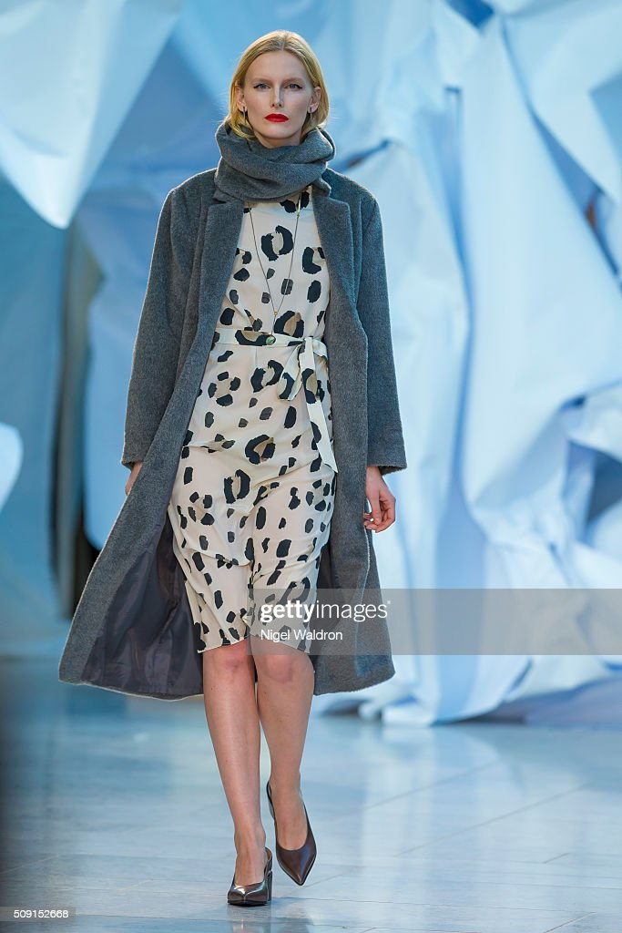 A model walks the runway at the Veronica B Vallenes show during the Fashion Week Oslo Autumn/Winter 2016/2017 at the Oslo Opera House on February 09, 2016 in Oslo, Norway.