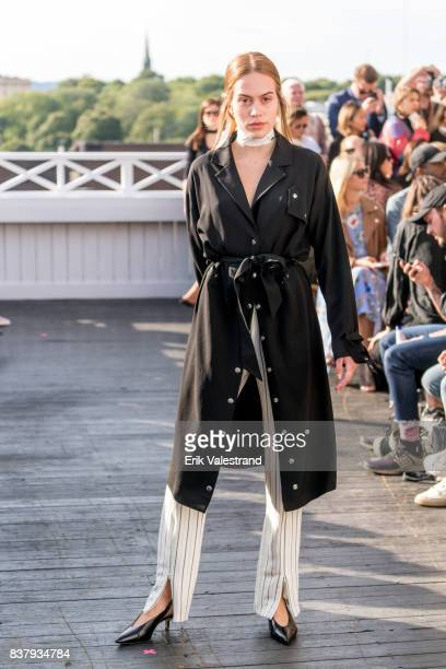 A model walks the runway at the Veronica B Vallenes show during the Fashion Week Oslo on August 23 2017 in Oslo Norway