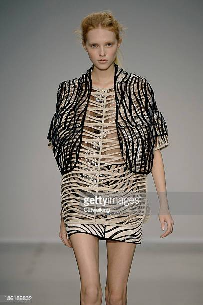 A model walks the runway at the Veronique Leroy Spring Summer 2014 fashion show during Paris Fashion Week on September 28 2013 in Paris France