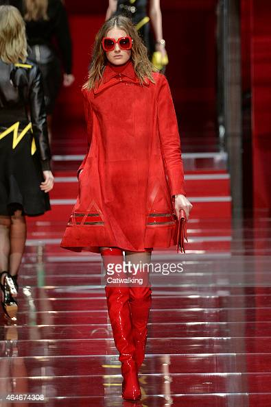 A model walks the runway at the Versace Autumn Winter 2015 fashion show during Milan Fashion Week on February 27 2015 in Milan Italy