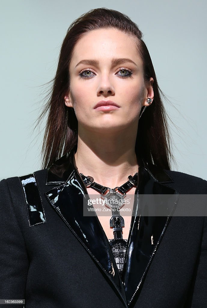 A model walks the runway at the Versace fashion show during Milan Fashion Week Womenswear Fall/Winter 2013/14 on February 22, 2013 in Milan, Italy.