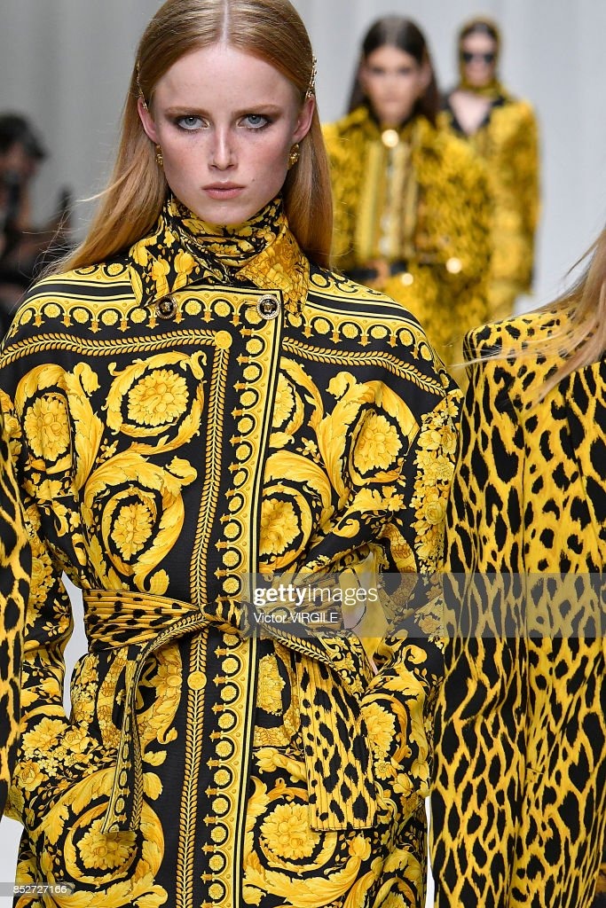 A model walks the runway at the Versace Ready to Wear Spring/Summer 2018 fashion show during Milan Fashion Week Spring/Summer 2018 on September 22, 2017 in Milan, Italy.