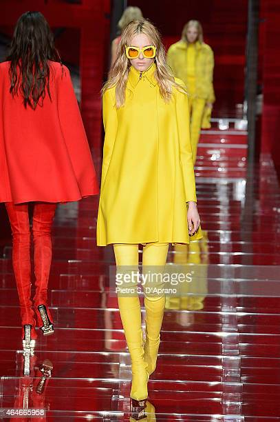 A model walks the runway at the Versace show during the Milan Fashion Week Autumn/Winter 2015 on February 27 2015 in Milan Italy