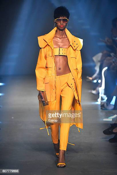 A model walks the runway at the VERSUS designed by Donatella Versace show during London Fashion Week Spring/Summer collections 2017 on September 17...