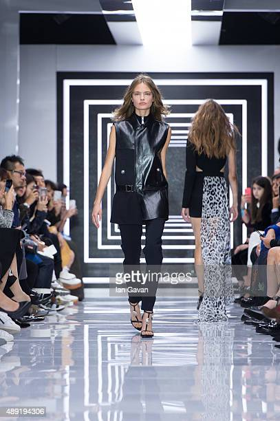 A model walks the runway at the Versus show during London Fashion Week Spring/Summer 2016/17 on September 19 2015 in London England