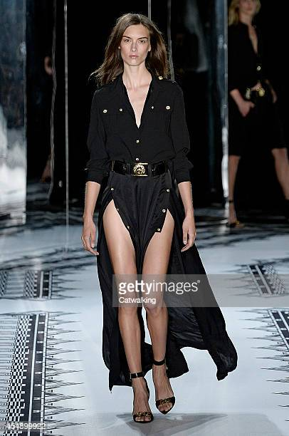 A model walks the runway at the Versus Spring Summer 2015 fashion show during New York Fashion Week on September 7 2014 in New York United States