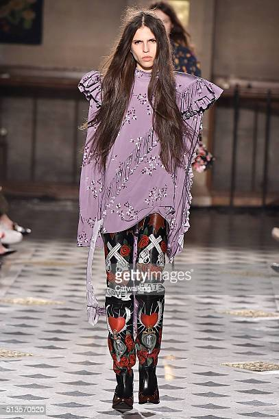 A model walks the runway at the Vetements Autumn Winter 2016 fashion show during Paris Fashion Week on March 3 2016 in Paris France