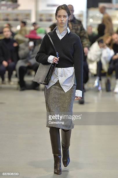 A model walks the runway at the Vetements Spring Summer 2017 fashion show during Paris Haute Couture Fashion Week on January 24 2017 in Paris France