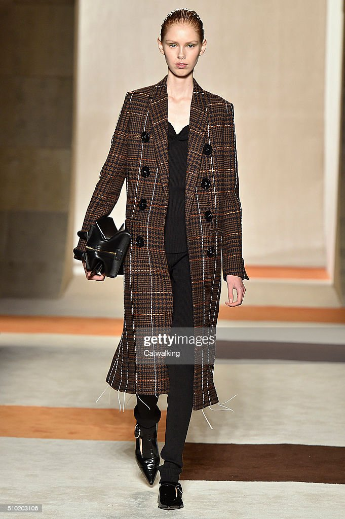 A model walks the runway at the Victoria Beckham Autumn Winter 2016 fashion show during New York Fashion Week on February 14, 2016 in New York, United States.