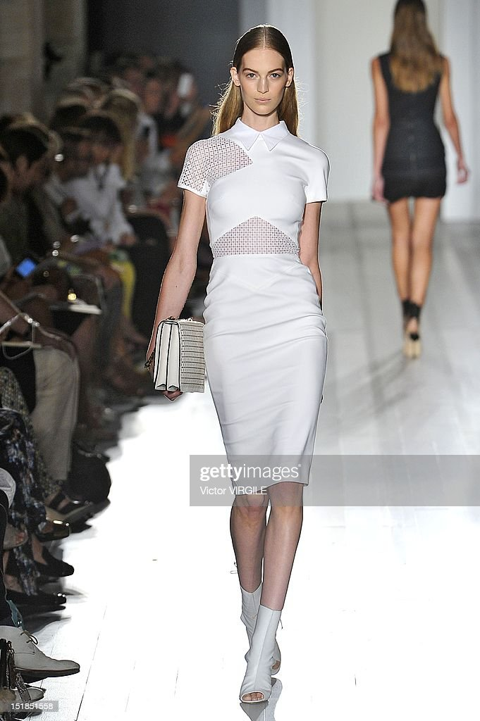 A model walks the runway at the Victoria Beckham Spring Summer 2013 fashion show during New York Fashion Week on September 9, 2012 in New York, United States.