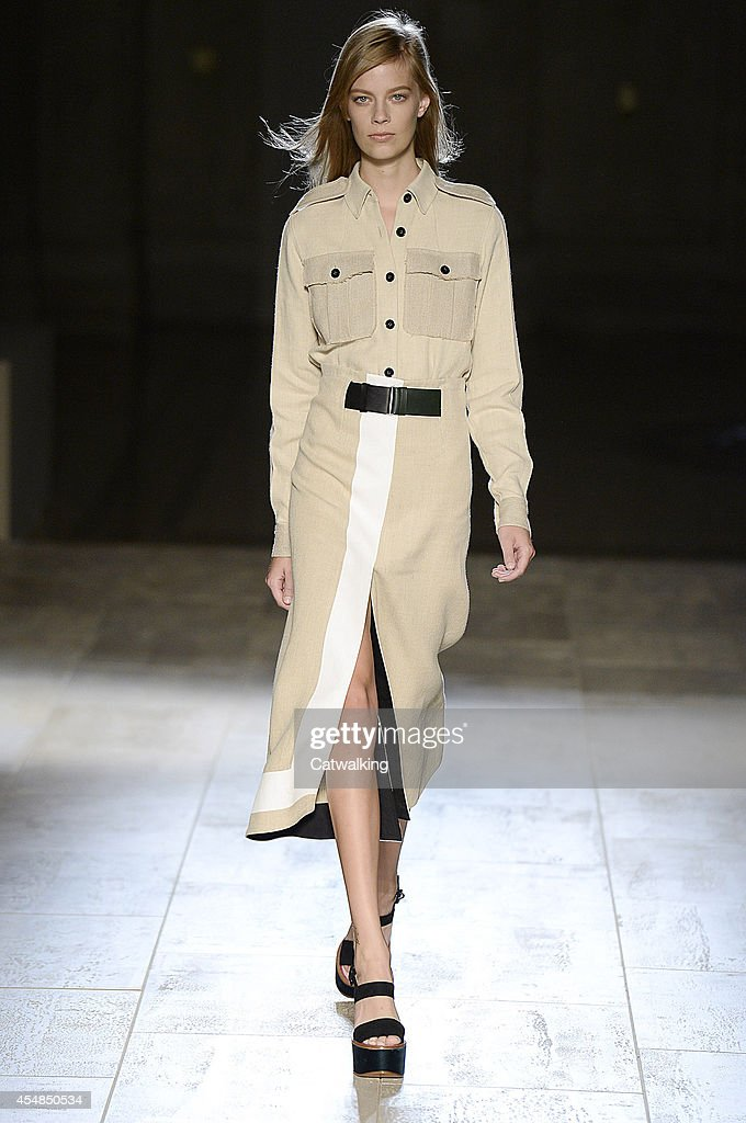 A model walks the runway at the Victoria Beckham Spring Summer 2015 fashion show during New York Fashion Week on September 7 2014 in New York United...