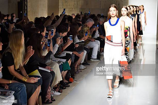 A model walks the runway at the Victoria Beckham Spring Summer 2016 fashion show during the New York Fashion Week on September 13 2015 in New York...