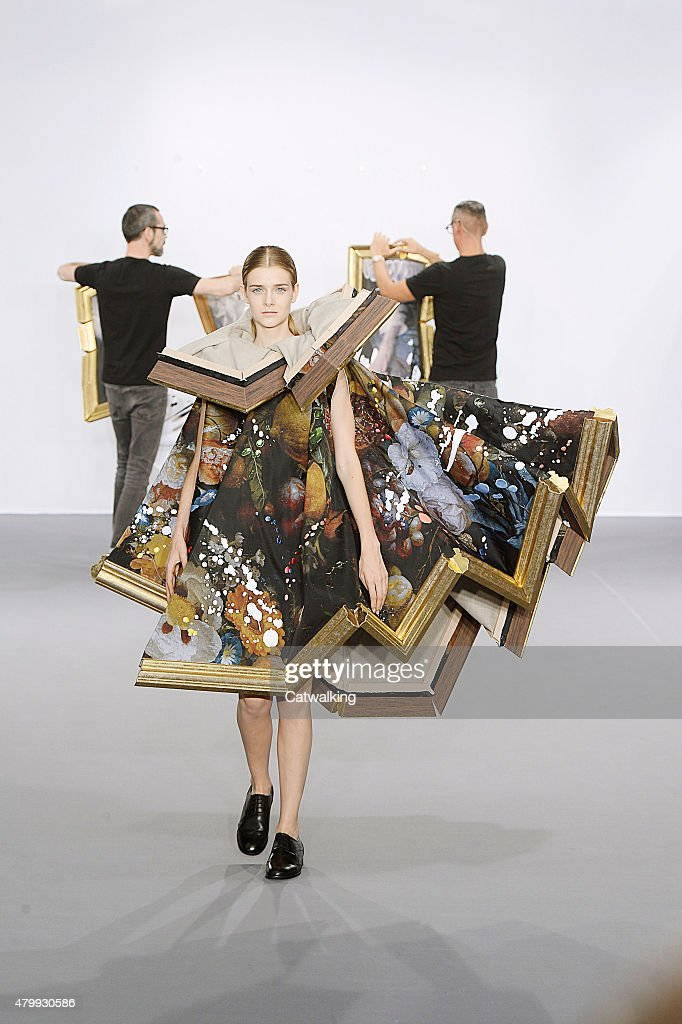 A model walks the runway at the Viktor & Rolf Autumn Winter 2015 fashion show during Paris Haute Couture Fashion Week on July 8, 2015 in Paris, France.