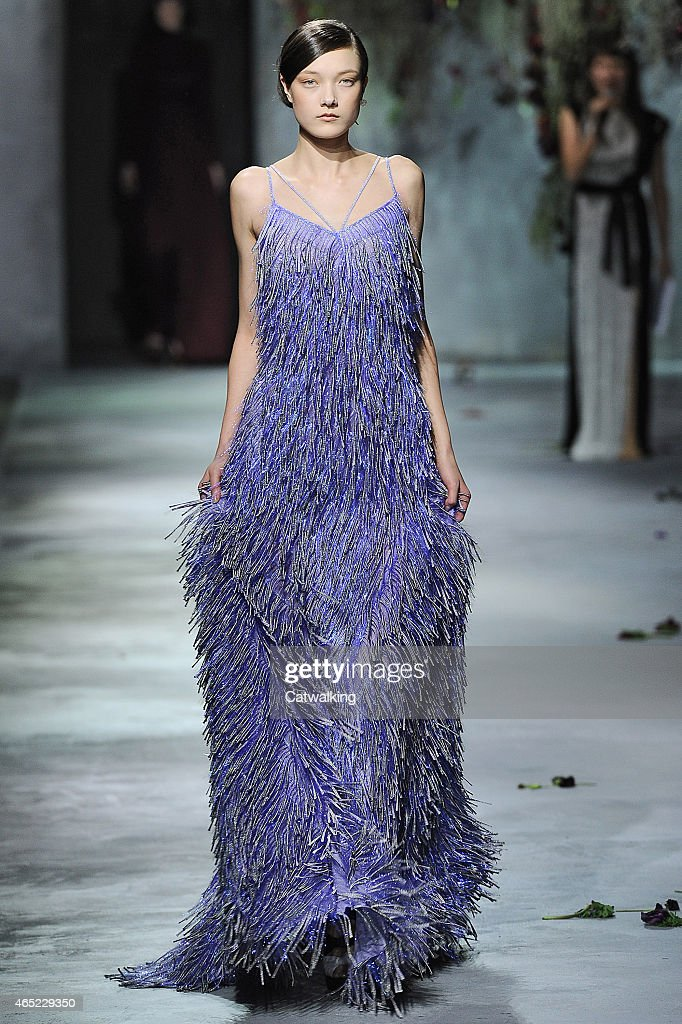 A model walks the runway at the Vionnet Autumn Winter 2015 fashion show during Paris Fashion Week on March 4 2015 in Paris France
