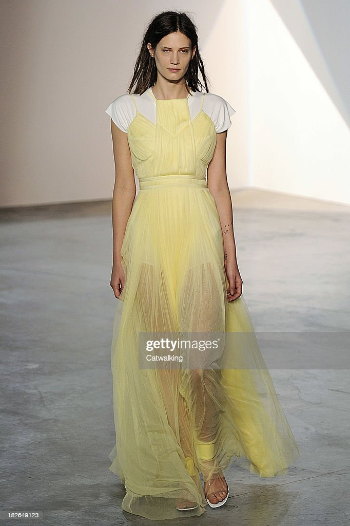 A model walks the runway at the Vionnet Spring Summer 2014 fashion show during Paris Fashion Week on October 2, 2013 in Paris, France.