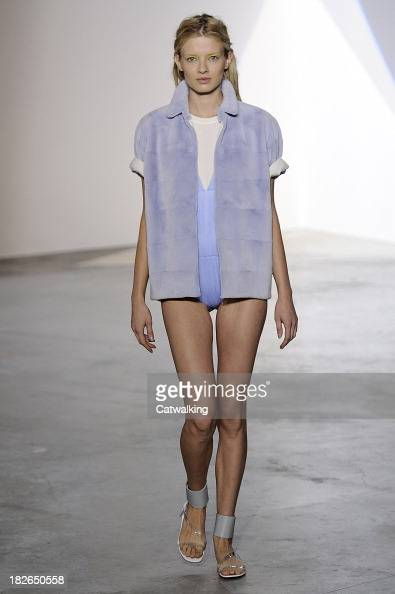 A model walks the runway at the Vionnet Spring Summer 2014 fashion show during Paris Fashion Week on October 2 2013 in Paris France