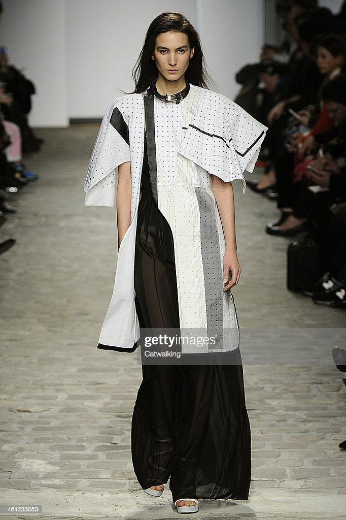 A model walks the runway at the Vionnet Spring Summer 2014 fashion show during Paris Haute Couture Fashion Week on January 21 2014 in Paris France