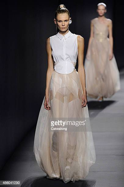 A model walks the runway at the Vionnet Spring Summer 2015 fashion show during Paris Fashion Week on September 24 2014 in Paris France