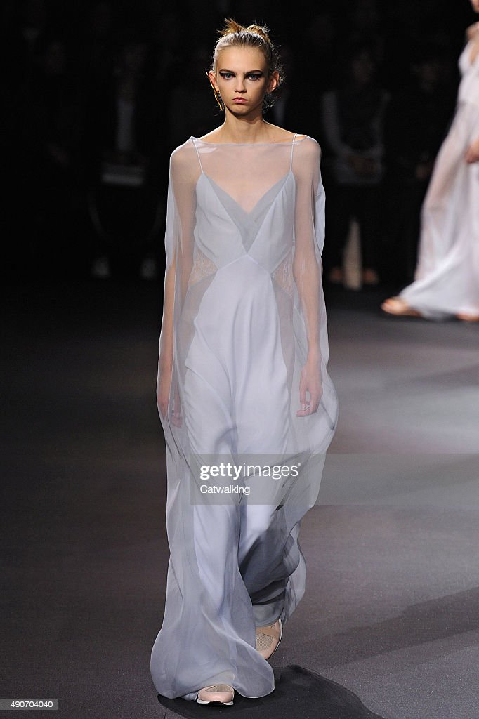 A model walks the runway at the Vionnet Spring Summer 2016 fashion show during Paris Fashion Week on September 30 2015 in Paris France