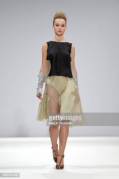 A model walks the runway at the Vita Gottlieb show during London Fashion Week Spring Summer 2015 at Fashion Scout Venue on September 14 2014 in...