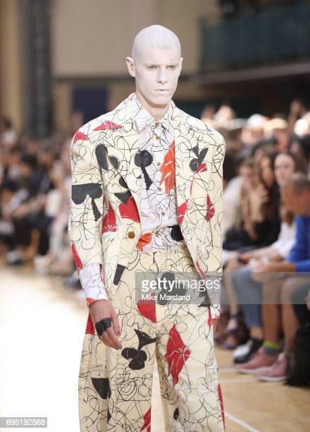 A model walks the runway at the Vivenne Westwood show during the London Fashion Week Men's June 2017 collections on June 12 2017 in London England
