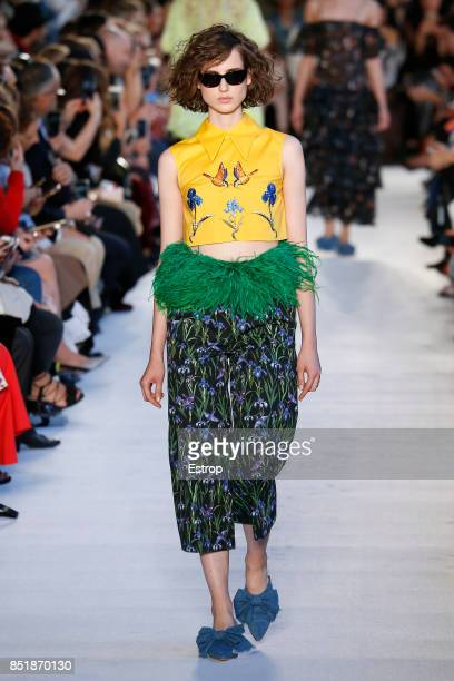 A model walks the runway at the Vivetta show during Milan Fashion Week Spring/Summer 2018 on September 21 2017 in Milan Italy